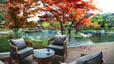 Pond Side Seating at Four Seasons Hotel Kyoto
