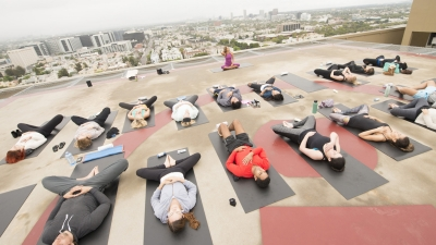 Yoga at Luxury LA Hotel