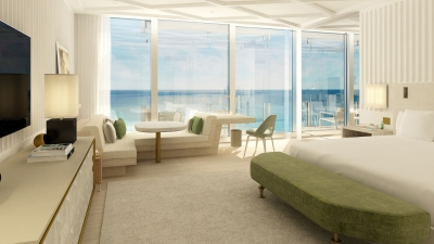 guest room at four seasons hotel at the surf club surfside