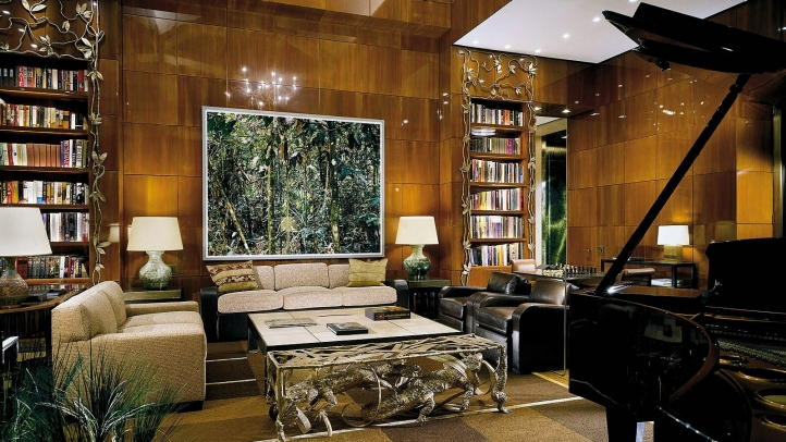 Ty Warner Penthouse living room wtih piano, Four Seasons Hotel New York